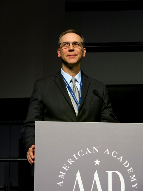 Dr. Strasswimmer addresses the 2014 national convention of the American Academy of Dermatology.